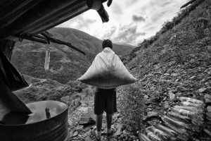 A young coca farmer about to return home after a day of work in Ch´alla, Bolivia.