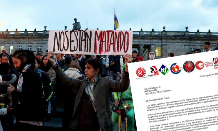 En carta a Duque, 6 federaciones sindicales internacionales expresan preocupación por asesinatos de líderes sociales